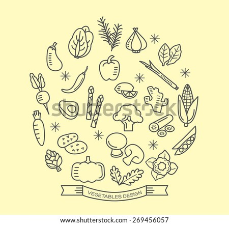 Vegetable line icons with outline style vector design elements