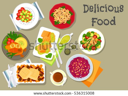 Vegetable, meat and fish salads menu icon of baked fish in cream sauce, mushroom and beet salads, cod with olive and pepper, salmon avocado salad, chicken olive salad, stuffed fish with nuts
