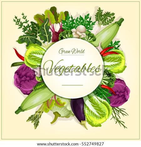Vegetable, mushroom and salads. Broccoli, cabbage, chilli pepper, eggplant and garlic, radish and beet, zucchini and green pea, champignon and kohlrabi, asparagus, patty pan squash, vegetable greens