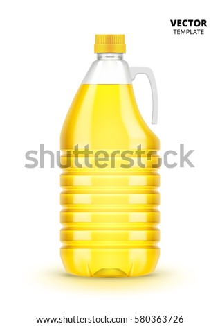 Vegetable oil bottle vector isolated on white background. Plastic bottle with olive or vegetable oil mock up for design presentation ads. Oil bottle with a plastic stopper.