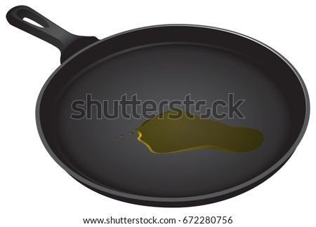 Stock Photo Vegetable oil in a frying pan. Vector illustration.