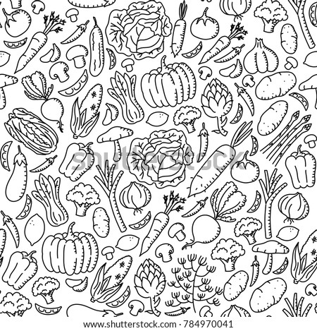Vegetable pattern background Stationary kids hand drawing set illustration isolated on white background