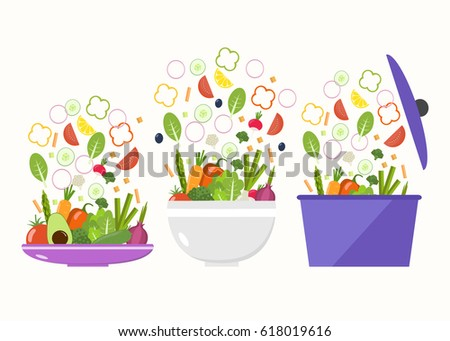 Vegetable plate. Vegetable bowl. Slices of vegetables. Flat design.