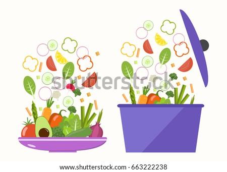 Vegetable plate. Vegetable pan. Slices of vegetables. Flat design