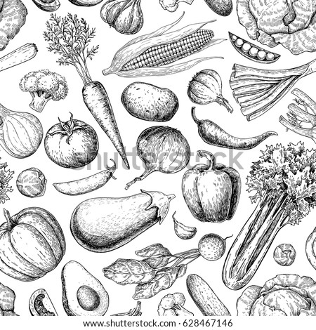 Vegetable seamless pattern. Hand drawn vintage vector background. Vegetarian set of farm market products. Detailed organic food drawing. Great for menu, poster, print, wallpaper, fabric #628467146