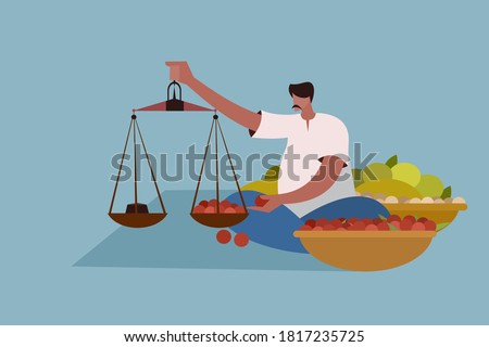 Vegetable seller weighing the vegetables in the market. A scene from Indian market Сток-фото ©