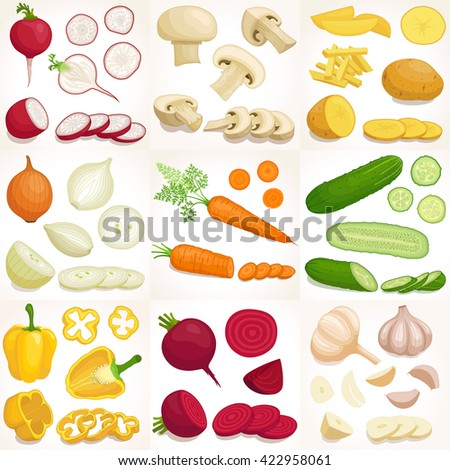 Vegetable set. Vector illustration. Whole, sliced and chopped various  vegetables.  #422958061