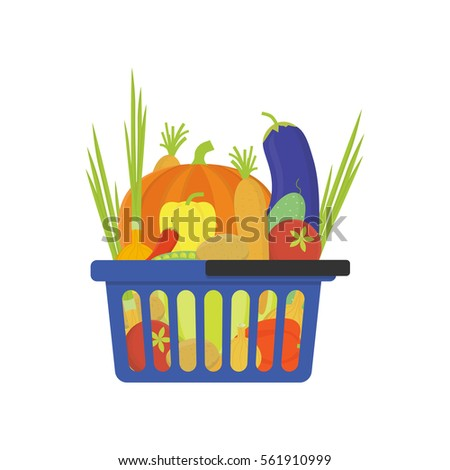 Vegetable shop basket flat style vector illustration.