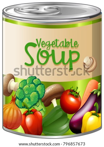 Vegetable soup in aluminum can illustration