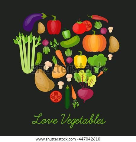 Vegetable vector circle background. Modern flat design. Healthy food background. #447042610