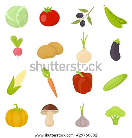 Vegetable 16 vector icon set in cartoon style for web design. #429760882