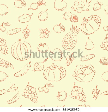 vegetables and fruit  doodles  pattern  #661935952
