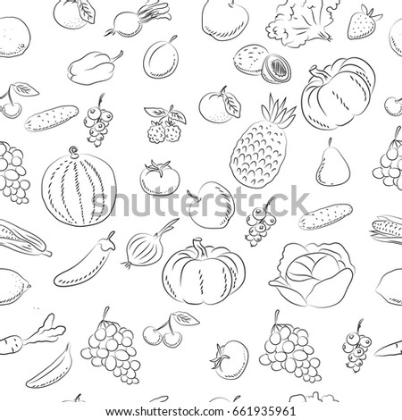 vegetables and fruit  doodles  pattern  #661935961