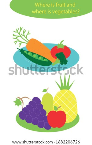 Vegetables and fruit in cartoon style on plates for children, preschool worksheet activity for kids, task for the development of logical thinking, vector illustration