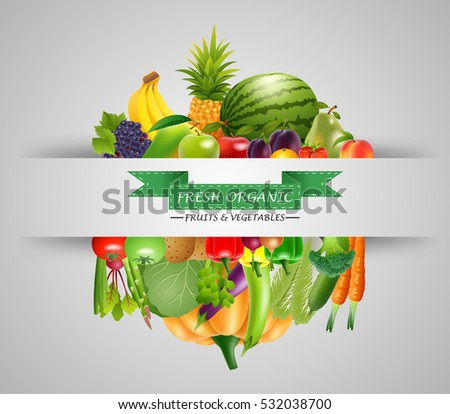Vegetables and fruits background. vector illustration