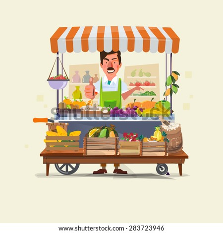 Shutterstock vegetables and fruits cart with seller character design. market cart. Green Carts sell only fresh fruits and vegetables. promote healthy eating concept - vector illustration
