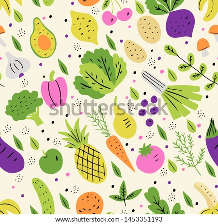 Vegetables and fruits flat hand drawn seamless pattern. Vector healthy, diet, organic food set for your design. Doodle style