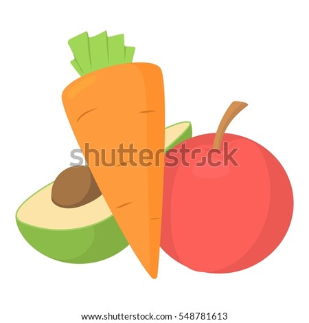 Vegetables and fruits icon. Cartoon illustration of vegetables and fruits vector icon for web