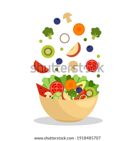 Vegetables and fruits in bowl in flat design. Salad bar for healthy meal. Vegetarian dish. Healthy food on white background.