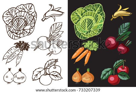 vegetables and fruits on a black and white background, beet, banana, cherry, onion, carrot, cabbage