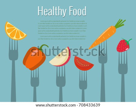 vegetables and fruits on forks