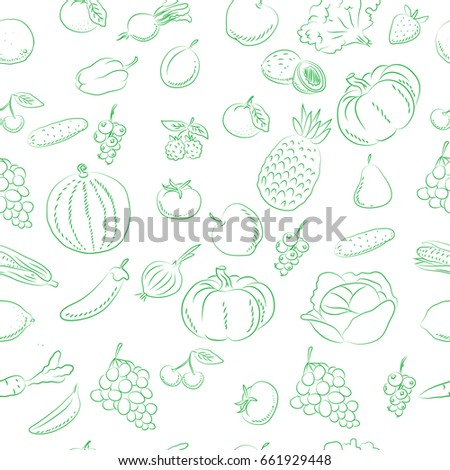 Vegetables and fruits, pattern  doodles hand drawn sketchy vector symbols and objects #661929448