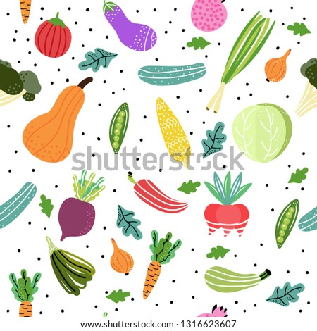 Vegetables and fruits pattern. Modern hand drawn style. Concept of healthy eating and lifestyle. Vector Illustration. #1316623607