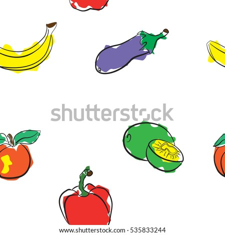 vegetables and fruits seamless