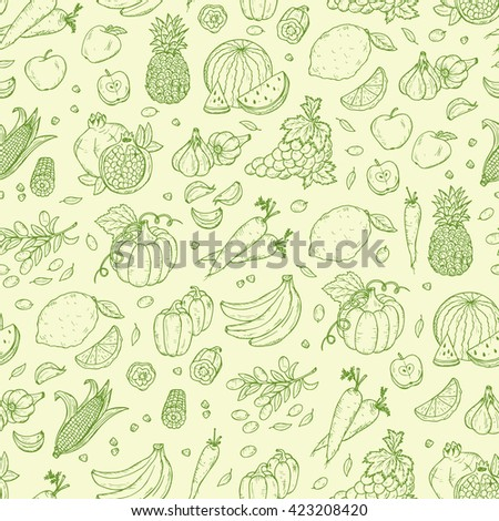Vegetables and fruits seamless pattern. Hand drawn doodle Fresh Fruit and Vegetable. Green background #423208420