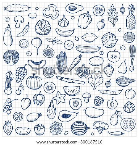 Vegetables and fruits Set hand drawn doodle elements on squared paper. Vector illustration for backgrounds, web design, design elements, textile prints, covers, posters, menu