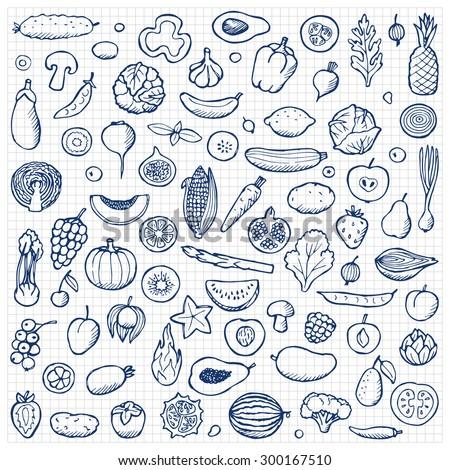 Vegetables and fruits Set hand drawn doodle elements on squared paper. Vector illustration for backgrounds, web design, design elements, textile prints, covers, posters, menu