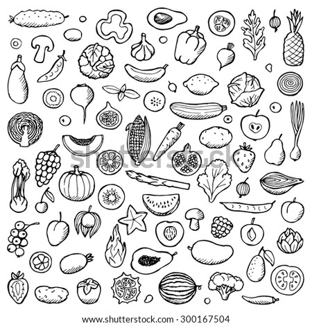vegetables and fruits set hand