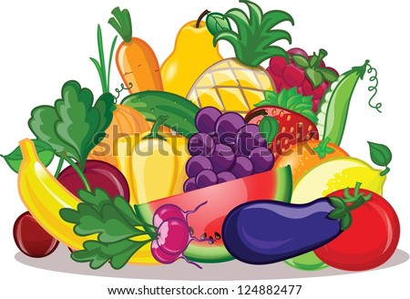 Vegetables and fruits, vector background