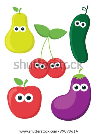 vegetables and fruits. vector illustration
