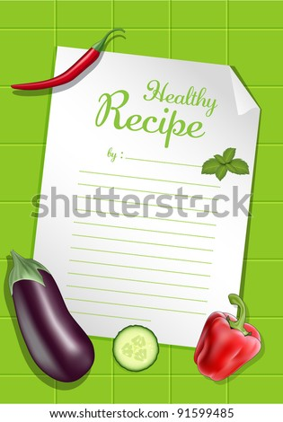 Vegetables and recipe for cooking, illustration.