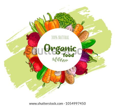 Vegetables around circle frame with text about organic food or your logo