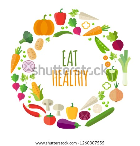 Vegetables background - healthy eating, healthy lifestyle. Modern flat design style. Can be used for web or printed graphics, infographics.