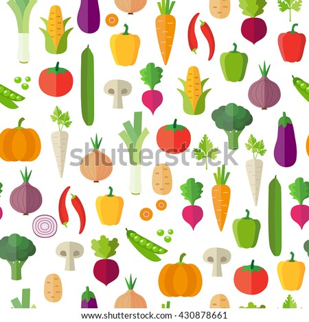 Vegetables background - seamless pattern. Can illustrate topics like healthy eating, vegetarian meals, vegan or raw diet. Wallpaper decoration. #430878661