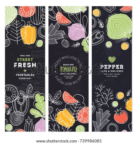 Vegetables banner collection. Linear graphic. Vegetables backgrounds. Scandinavian style. Healthy food. Vector illustration