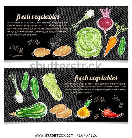 Vegetables banner. Eco farmer vegetables, potato, carrot, cabbage, pepper. Healthy nutrition concept. Fresh vegetarian healthy food of vector chalk sketch