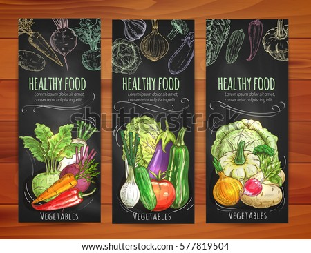 Vegetables banners set. Vegetarian healthy veggies sketched on blackboard. Chalk sketch beet and carrot, garlic and pea, zucchini and pepper, cabbage, cucumber, tomato, corn, kohlrabi, eggplant #577819504