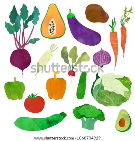 Vegetables. Cartoon clip art illustration on white background. W #1060704929
