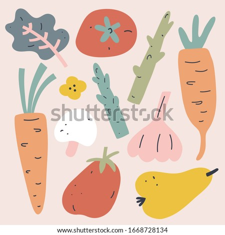 Vegetables collection, set of vector illustrations of veggies and fruit, trendy earthy colors, flat hand drawn art, simple modern drawing