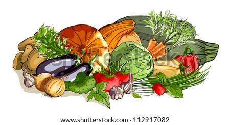 Vegetables Colorful Still Life. Vector EPS8 illustration, no effects used. All items are grouped and layered separately. All vegetables  are finished and can be used separately.
