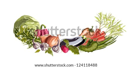 Vegetables Decorative Composition. Vector EPS8 illustration. No effects.