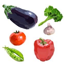 Vegetables. Eggplant, peppers, tomatoes, parsley, garlic, peas.