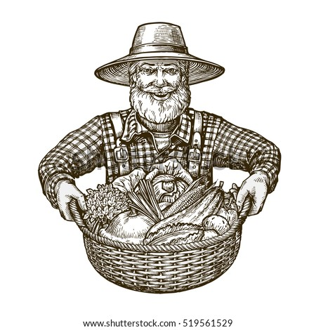 Vegetables. Farmer with basket in hands. Sketch vector
