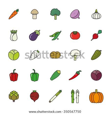 Vegetables filled outline vector icon set. Collection of vegetarian food symbols, black outline with color fill.
