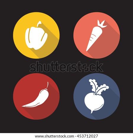 Vegetables flat design long shadow icons set. Capsicum, carrot, hot chili pepper, beet root. Vector symbols #453712027