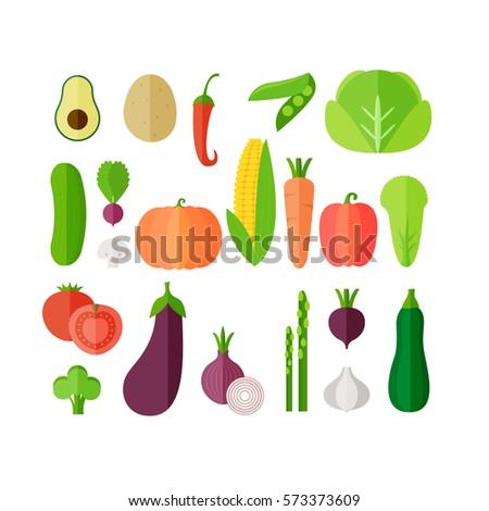 Vegetables flat icon set. Vector illustration #573373609